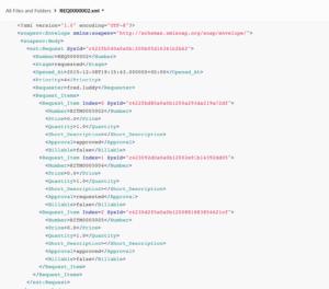 XML document uploaded