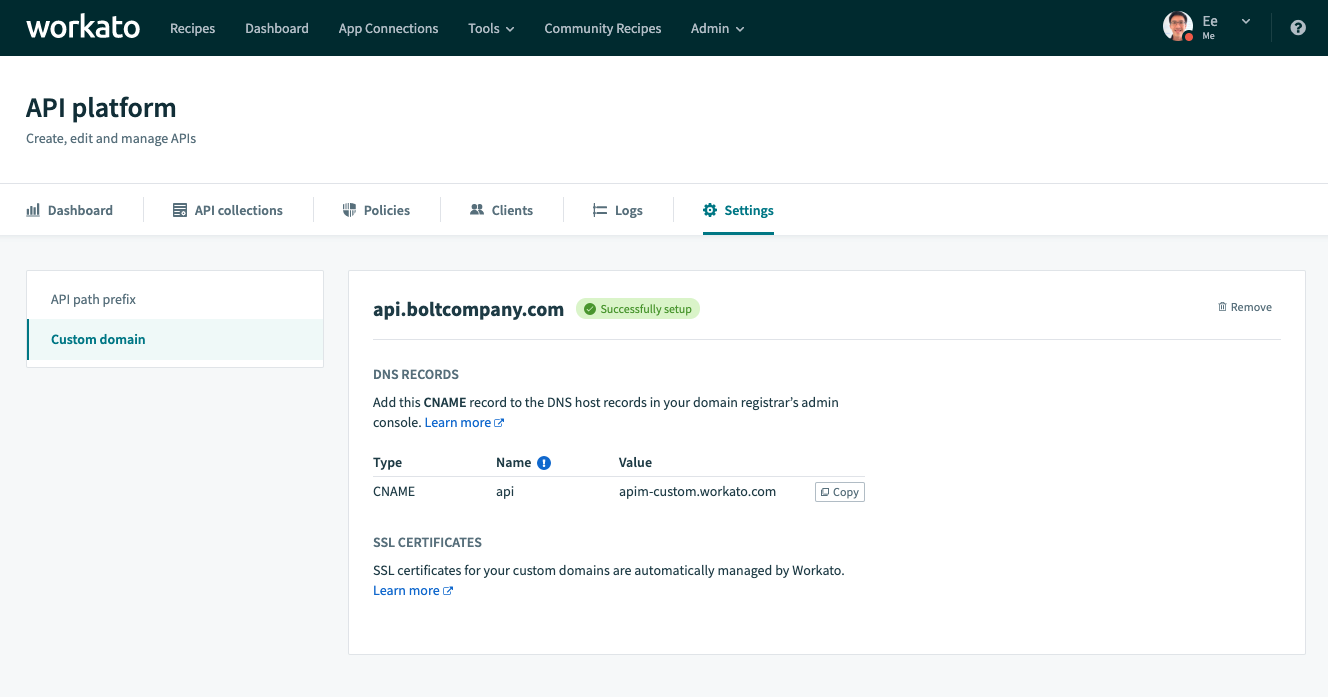 Custom Domains Screenshot