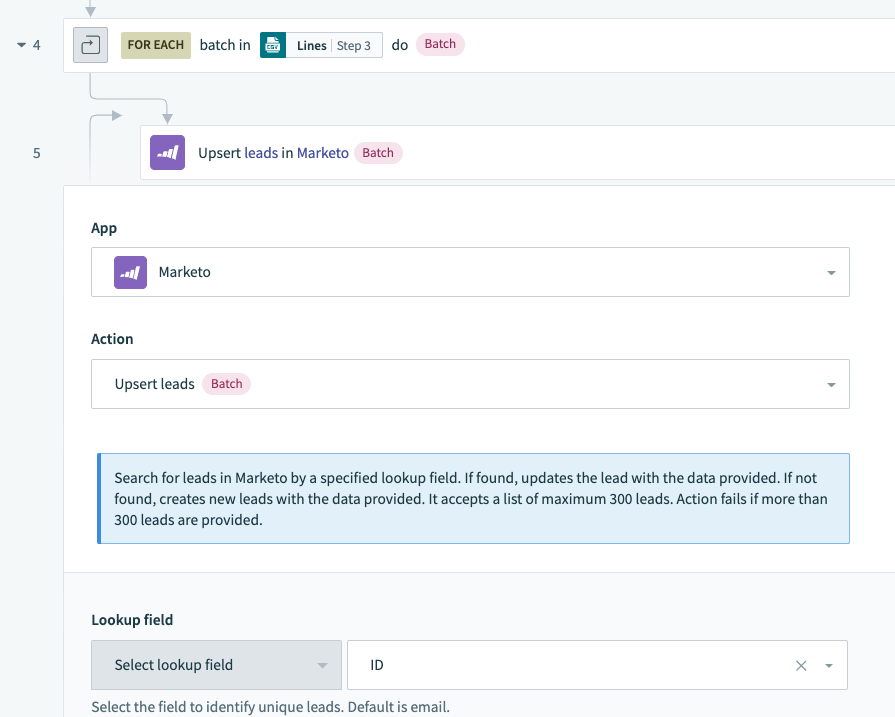 The final step is to select the requisite batch load action in the target app - Marketo in this case