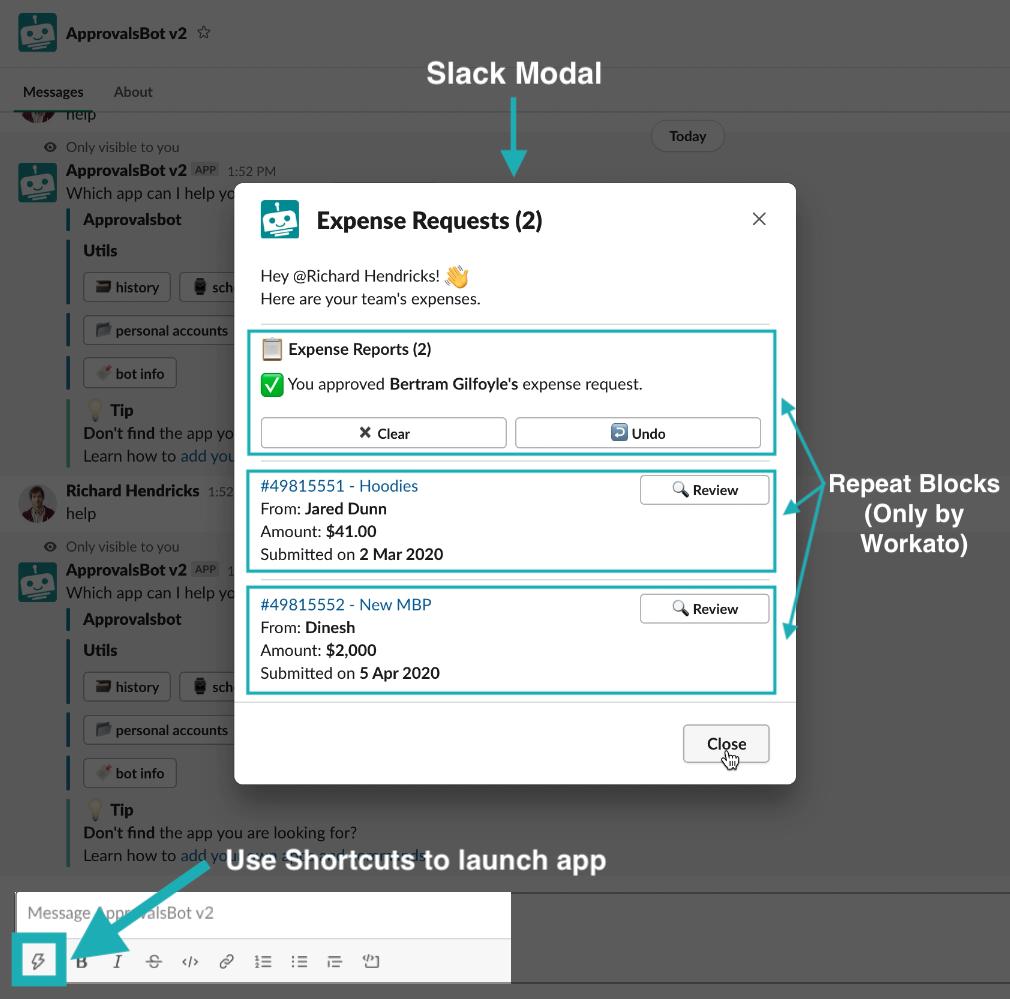 Slack Modal screenshot for April 2020 Product Update