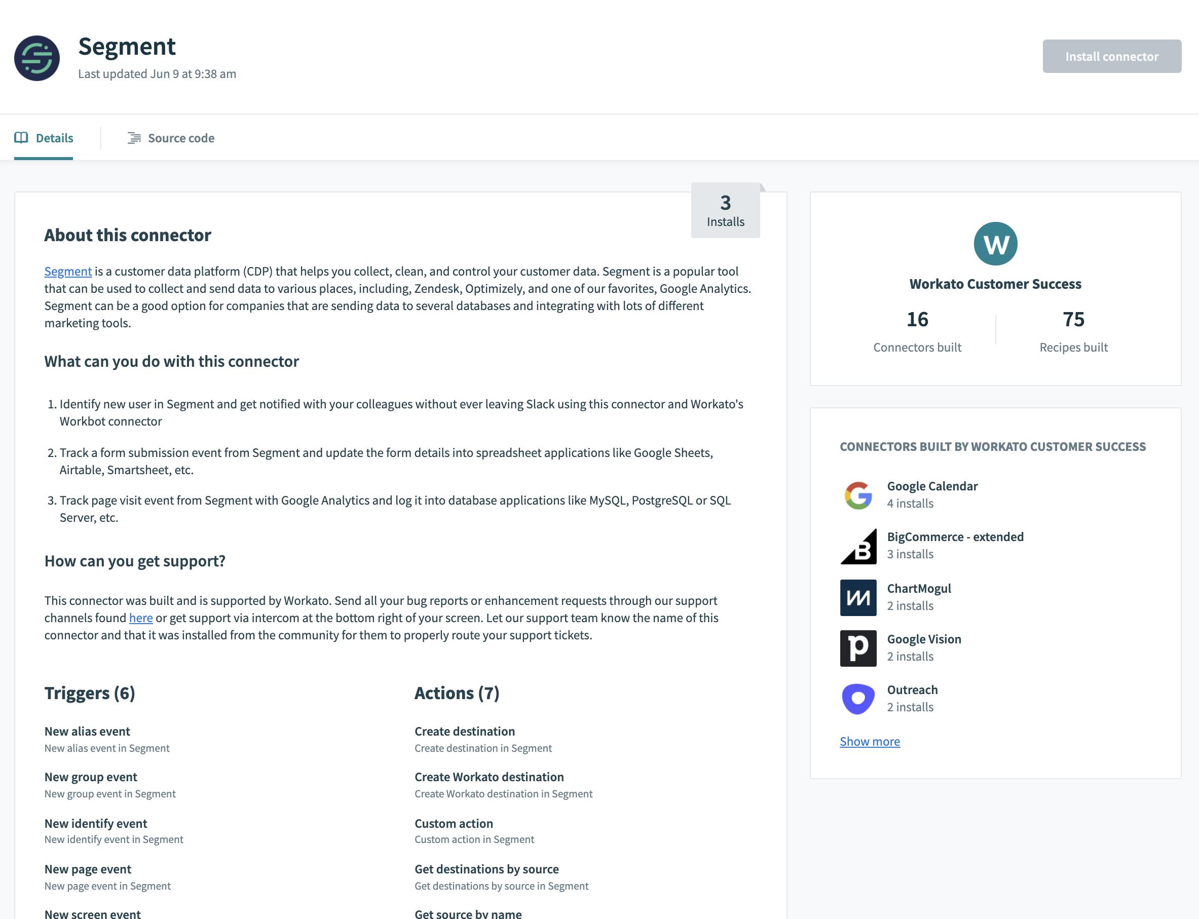 Segment Connector Landing Page