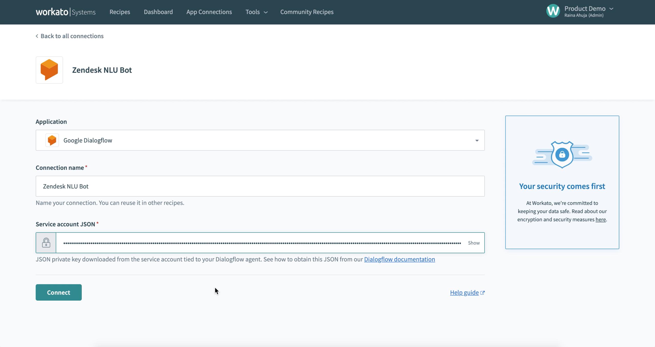 Dialogflow authentication
