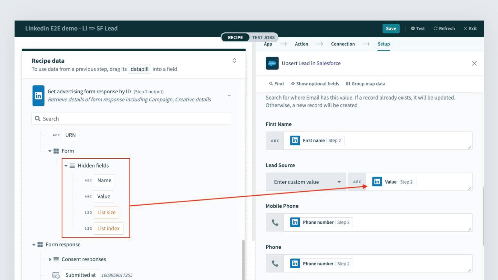 LinkedIn form hidden fields in Workato