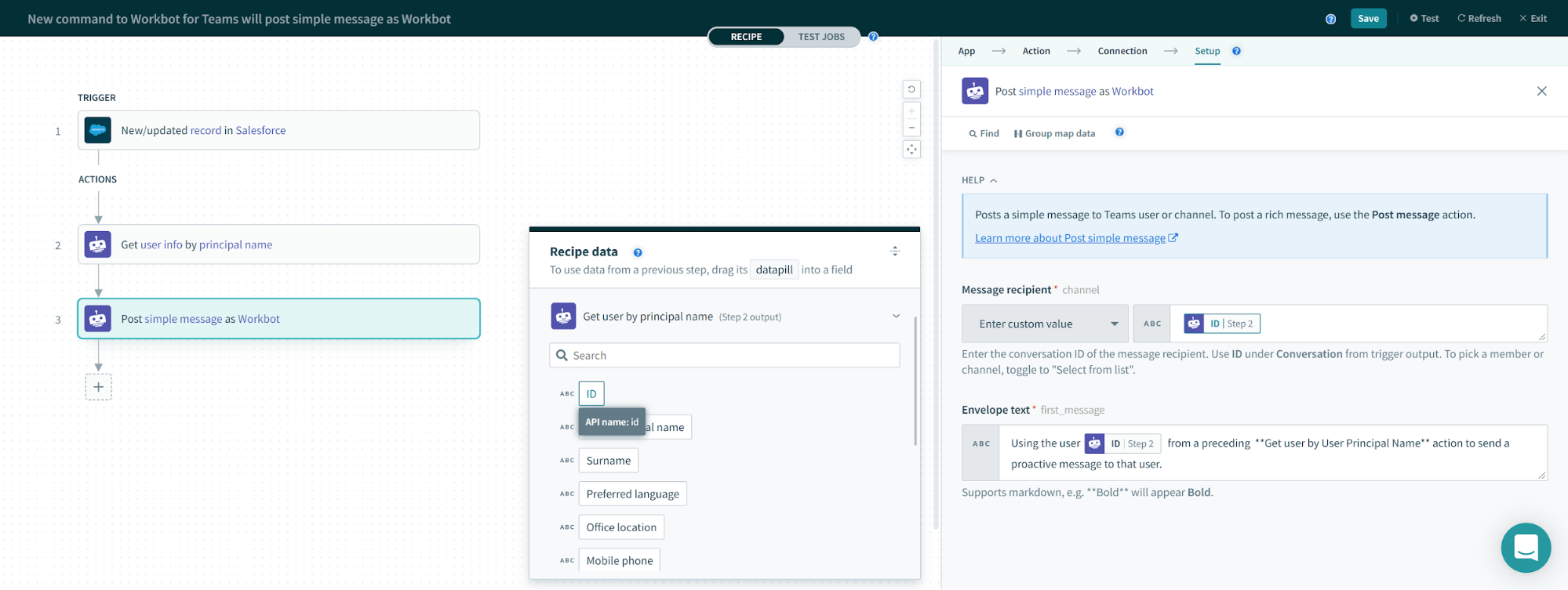 Workbot for Microsoft Teams Messaging