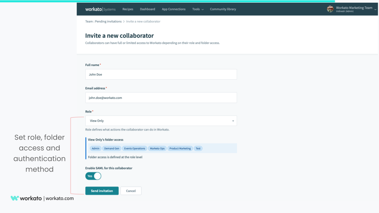 Manage user access when adding collaborators
