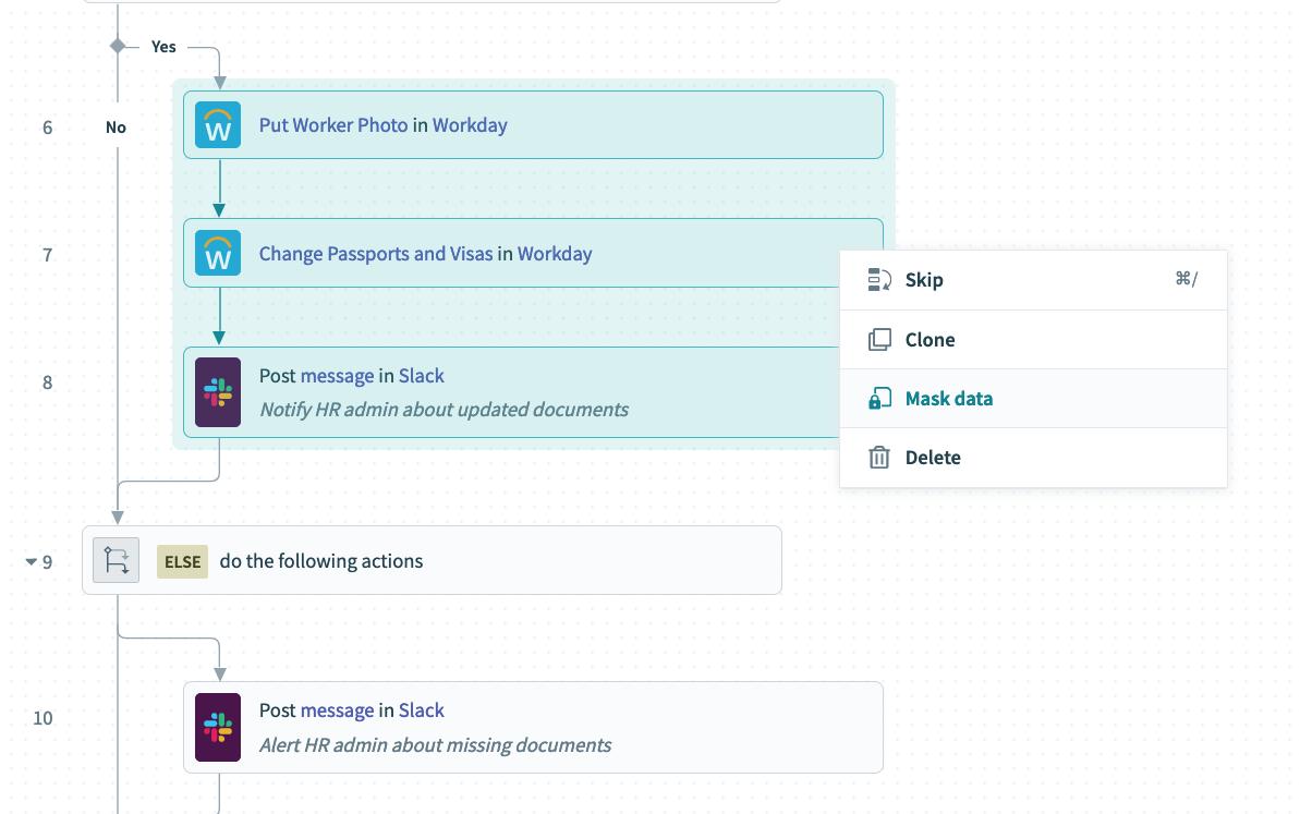 Mask data for sensitive data across steps