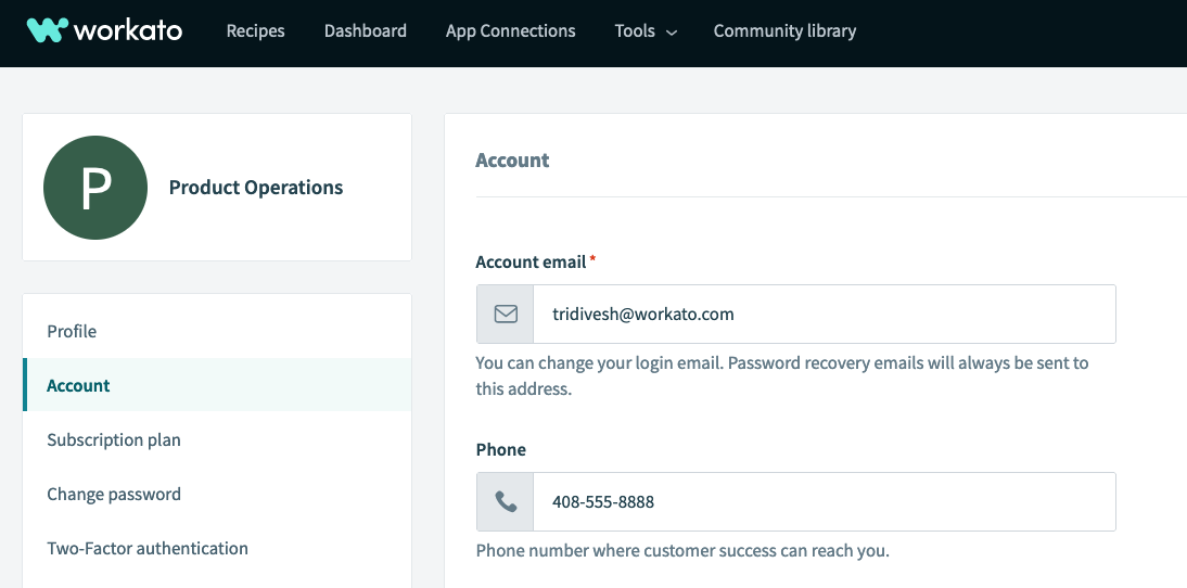 account settings to personalize